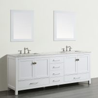 "EVVN412 84WH A 01 202x202 - Eviva Aberdeen 84"" Transitional White Bathroom Vanity with White Carrera Countertop"
