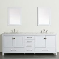 "EVVN412 84WH A Main 202x202 - Eviva Aberdeen 84"" Transitional White Bathroom Vanity with White Carrera Countertop"
