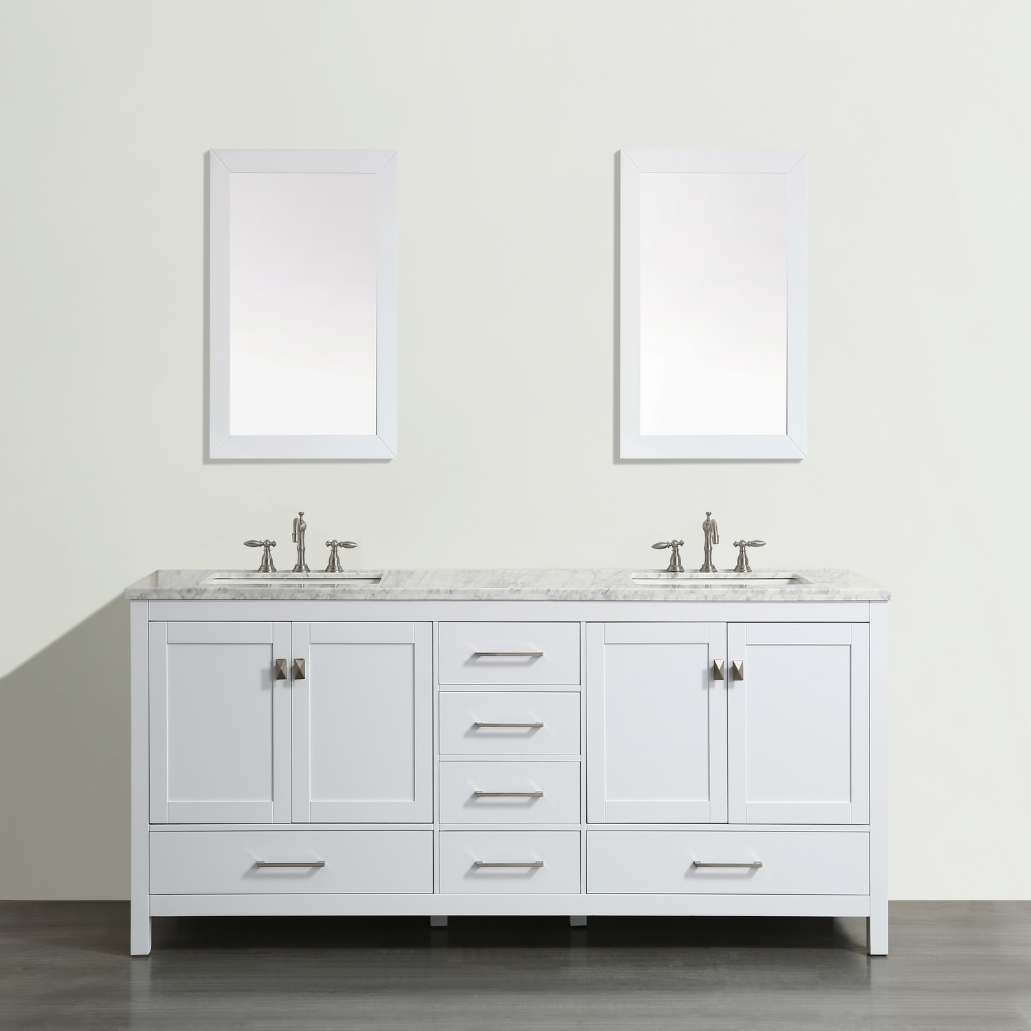 "EVVN412 84WH A Main - Eviva Aberdeen 84"" Transitional White Bathroom Vanity with White Carrera Countertop"