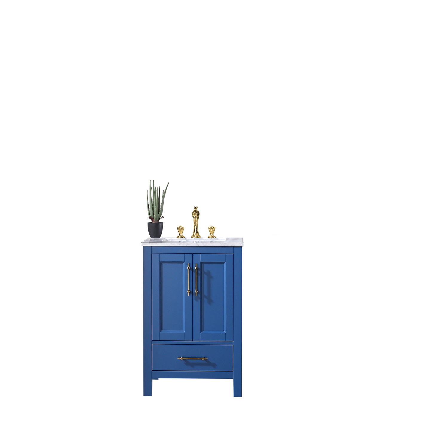 EVVN413 24BLU A Main - Eviva Navy 24 inch Deep Blue Bathroom Vanity with White Carrera Counter-top and White Undermount Porcelain Sink