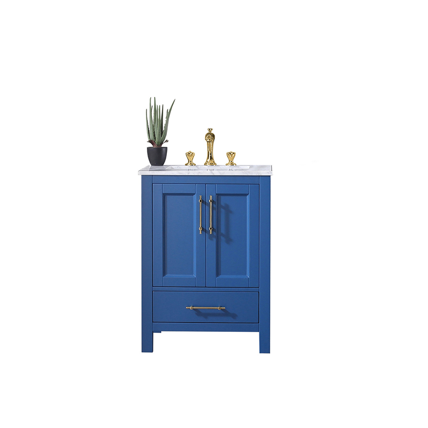 EVVN413 30BLU A Main - Eviva Navy 30 inch Deep Blue Bathroom Vanity with White Carrera Counter-top and White Undermount Porcelain Sink