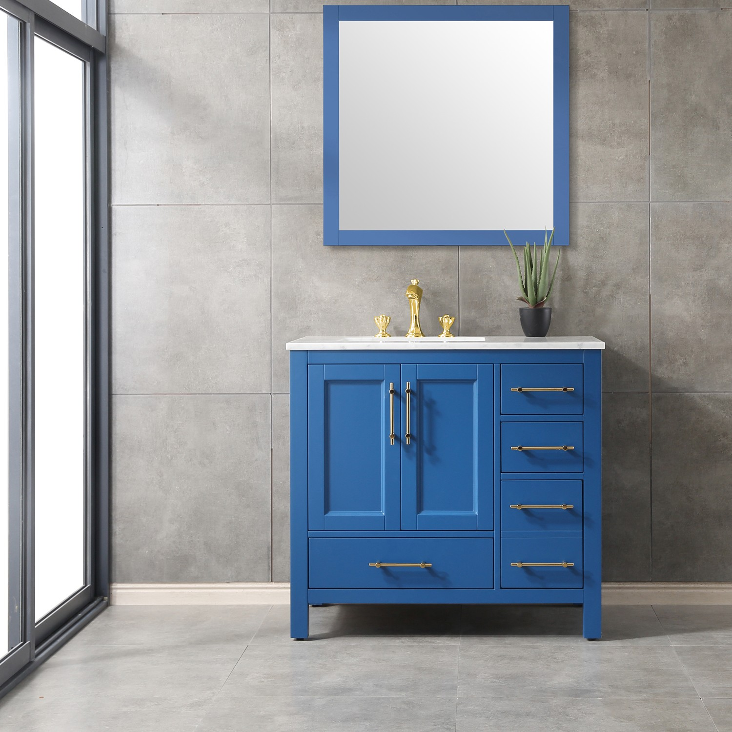 Eviva Navy 36 Inch Deep Blue Bathroom Vanity With White