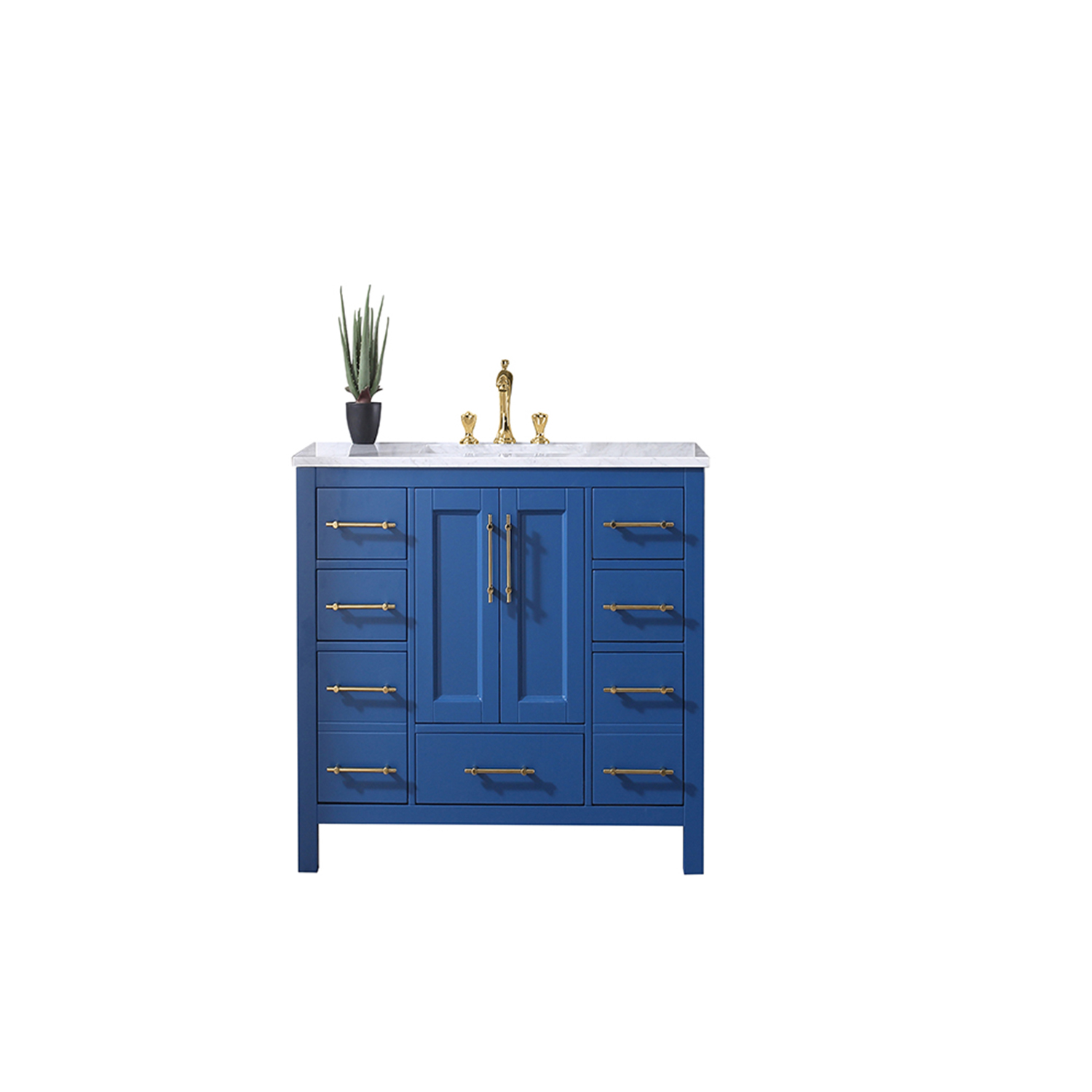EVVN413 42BLU A Main - Eviva Navy 42 inch Deep Blue Bathroom Vanity with White Carrera Counter-top and White Undermount Porcelain Sink