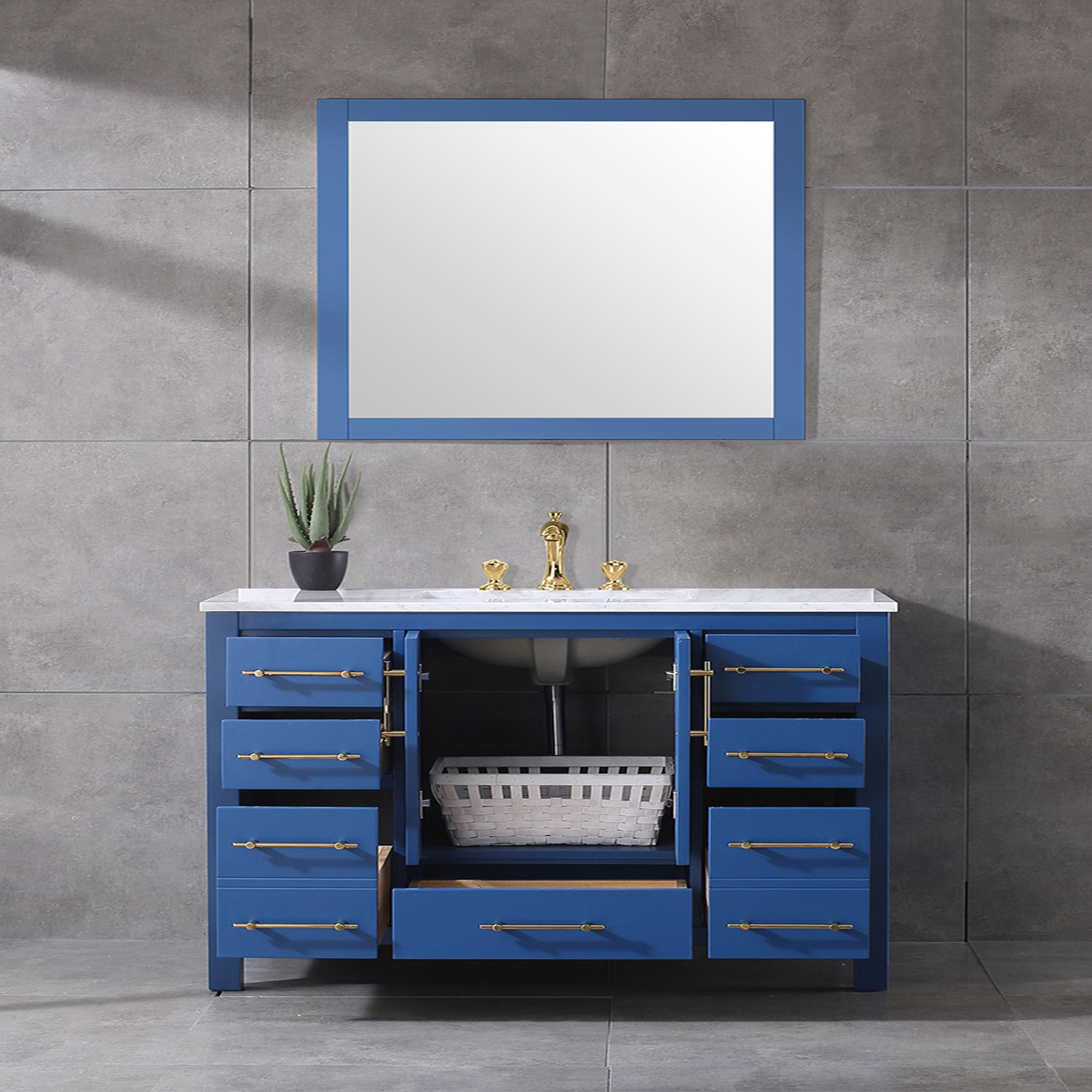 Miraculous Eviva Navy 48 Inch Deep Blue Bathroom Vanity With White Carrera Counter Top And White Undermount Porcelain Sink Download Free Architecture Designs Scobabritishbridgeorg