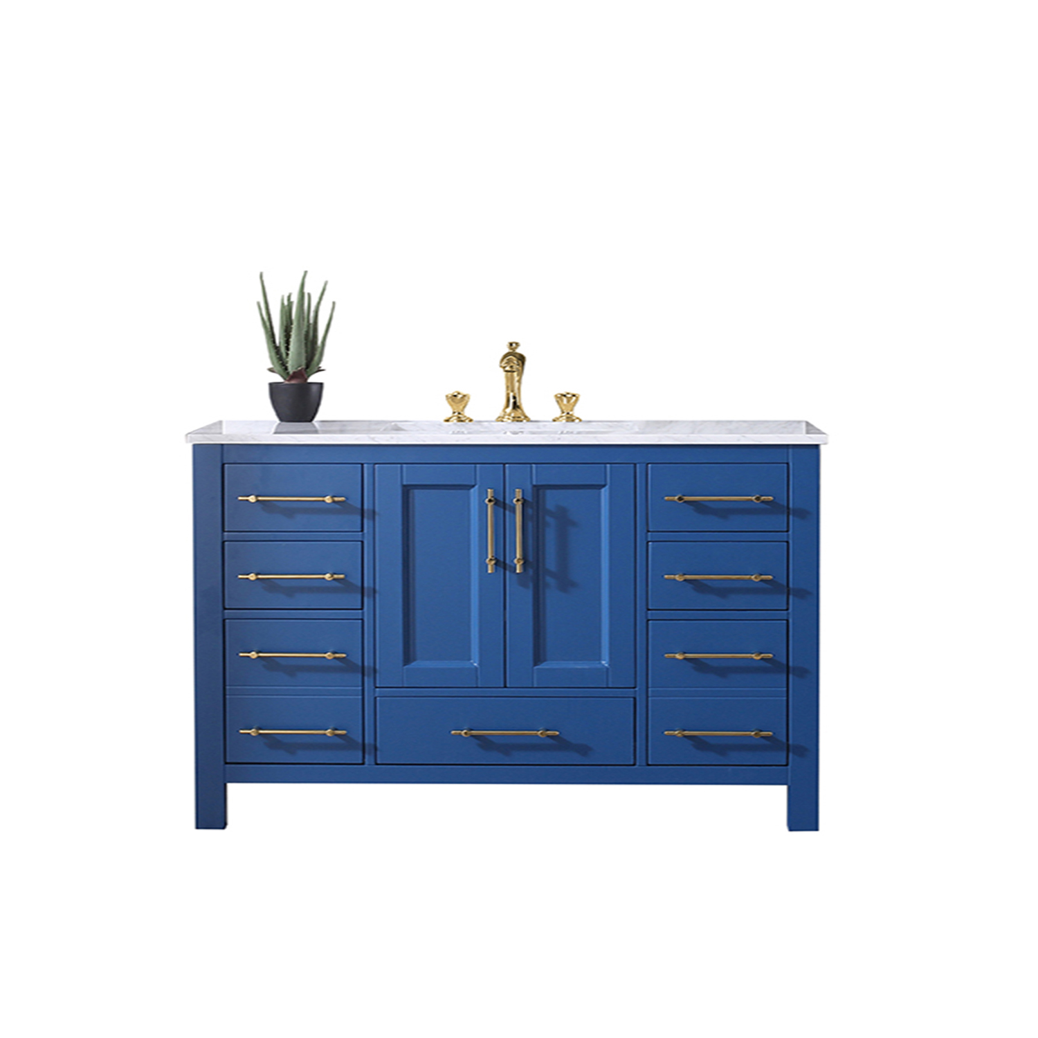 EVVN413 48BLU A Main - Eviva Navy 48 inch Deep Blue Bathroom Vanity with White Carrera Counter-top and White Undermount Porcelain Sink