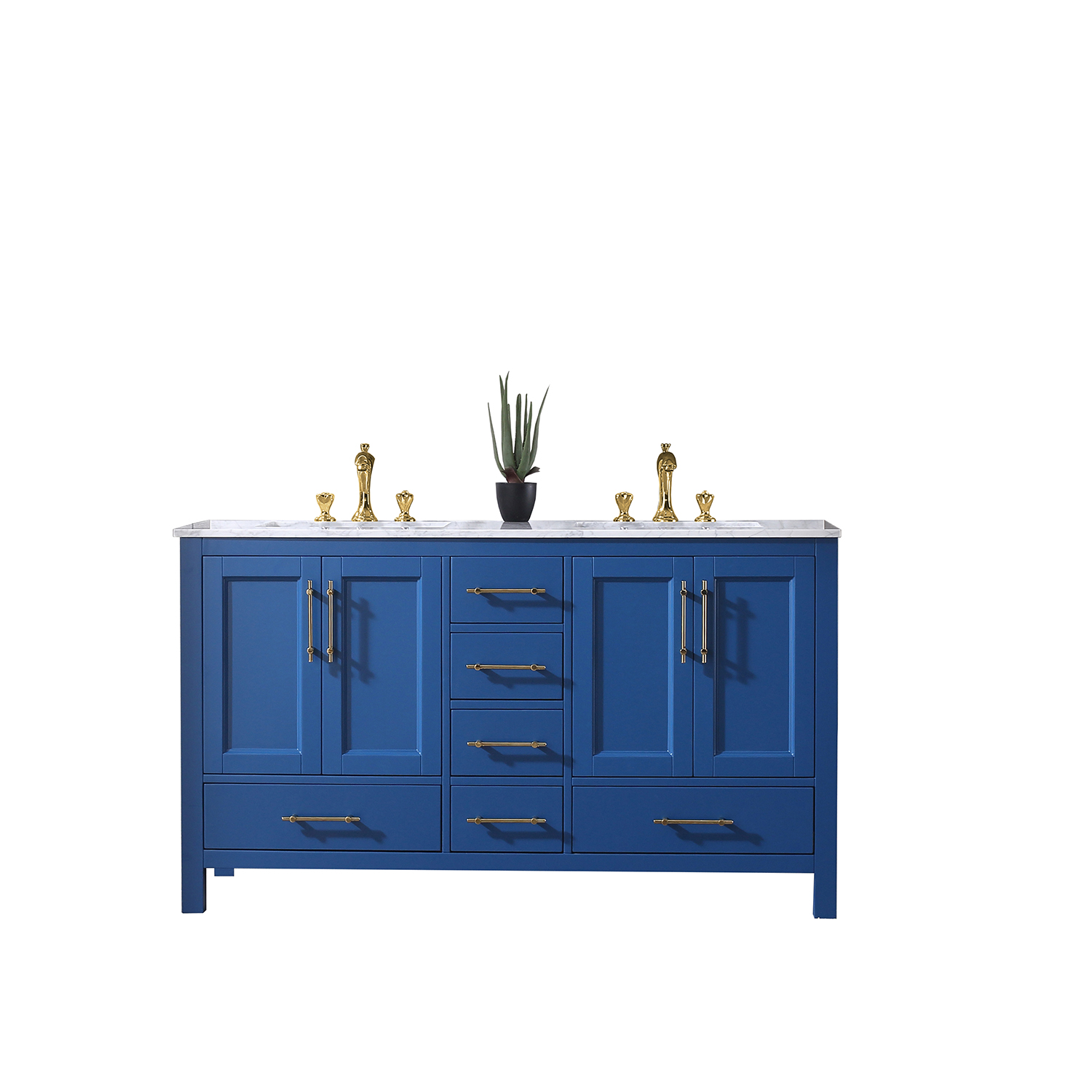 EVVN413 60BLU A Main - Eviva Navy 60 inch Deep Blue Bathroom Vanity with White Carrera Counter-top and Double White Undermount Porcelain Sinks