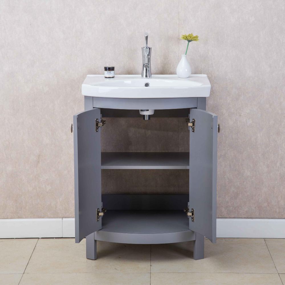 Eviva Jersey 24u2033 Grey Transitional Bathroom Vanity With White Porcelain Sink