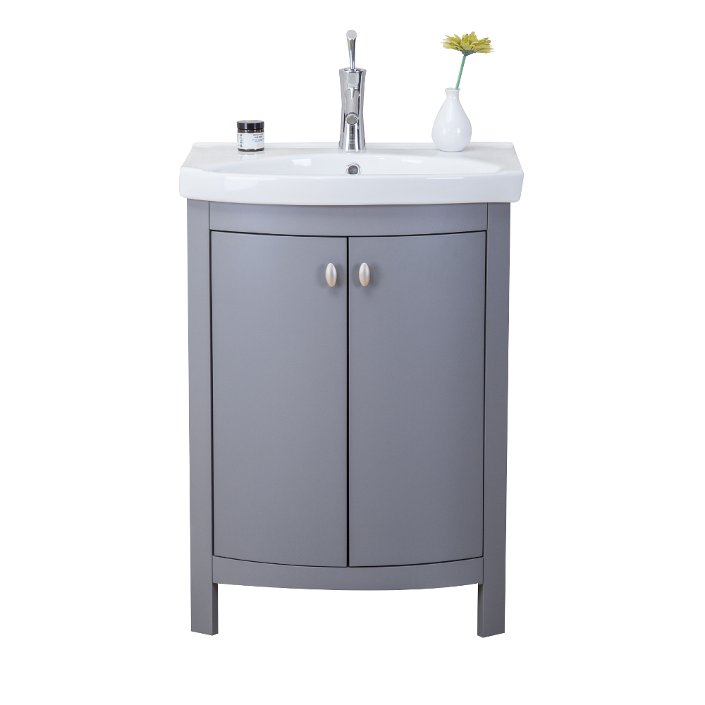 "EVVN508 24GR A Main - Eviva Jersey 24"" Grey Transitional Bathroom Vanity with White Porcelain Sink"