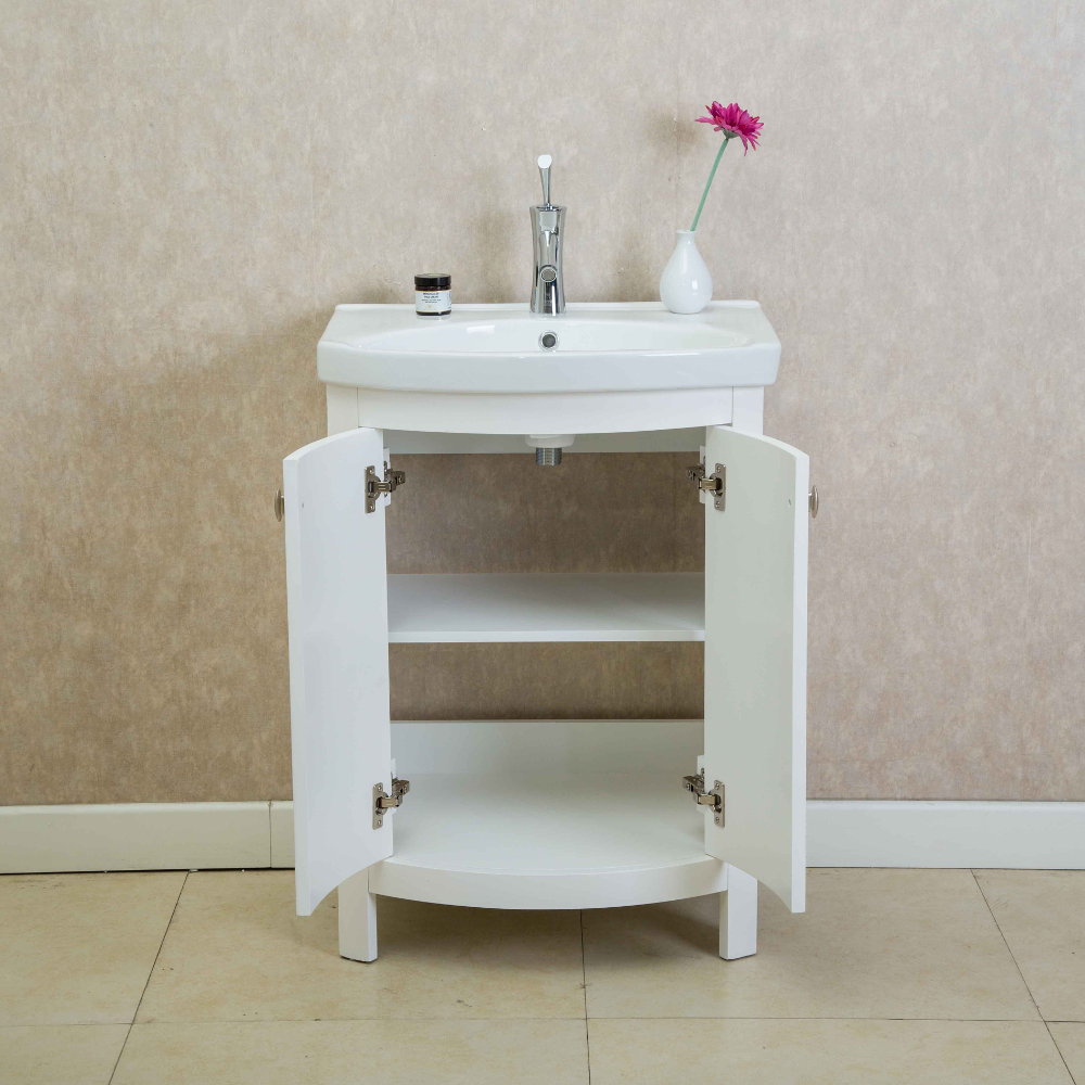 Eviva Jersey 24 Quot White Transitional Bathroom Vanity With White Porcelain Sink Decors Us