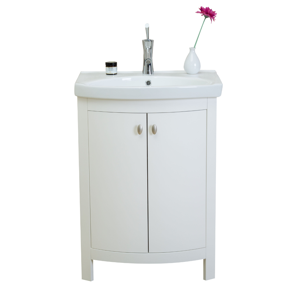 "EVVN508 24WH A Main - Eviva Jersey 24"" White Transitional Bathroom Vanity with White Porcelain Sink"
