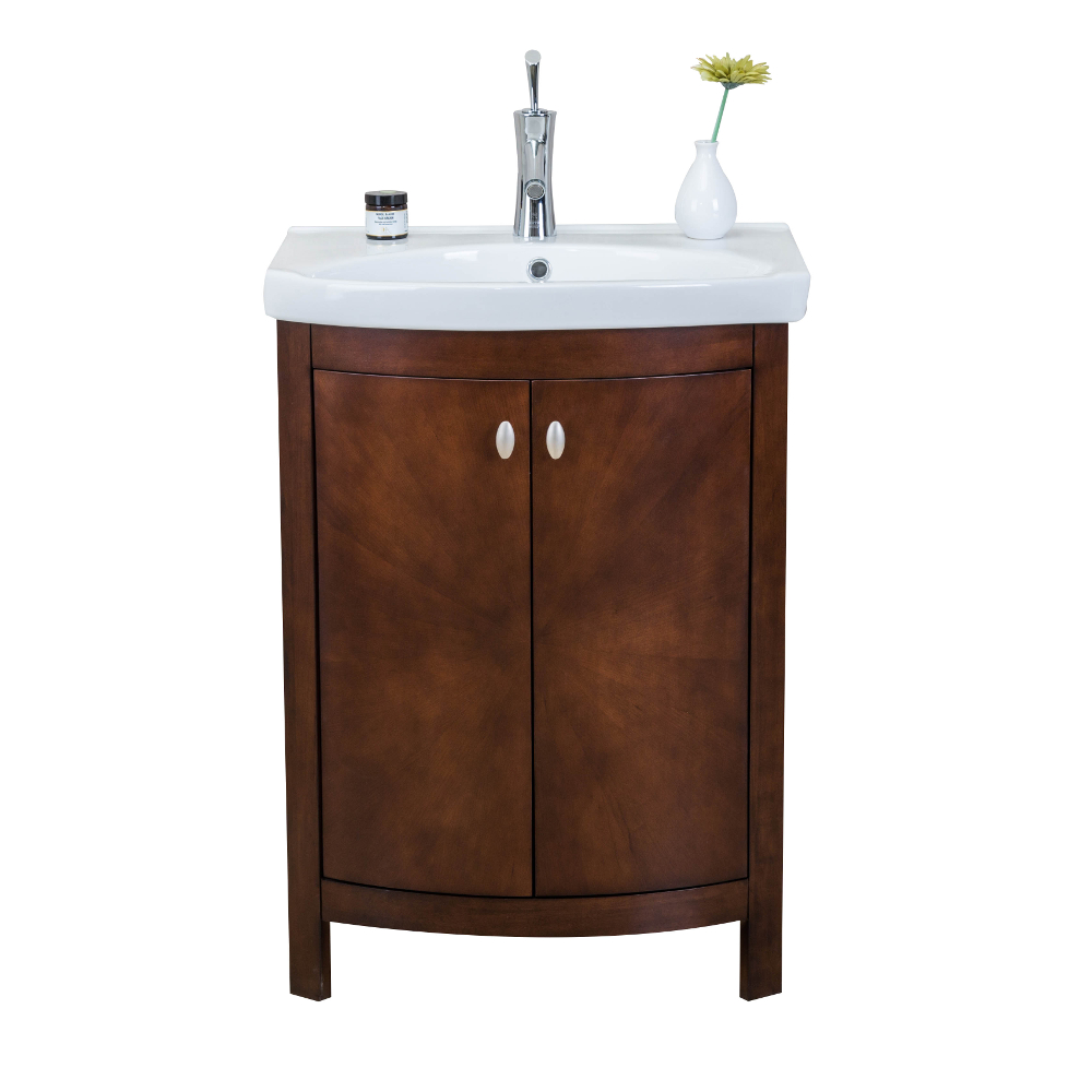"EVVN508 24WN A Main - Eviva Jersey 24"" Walnut Transitional Bathroom Vanity with White Porcelain Sink"