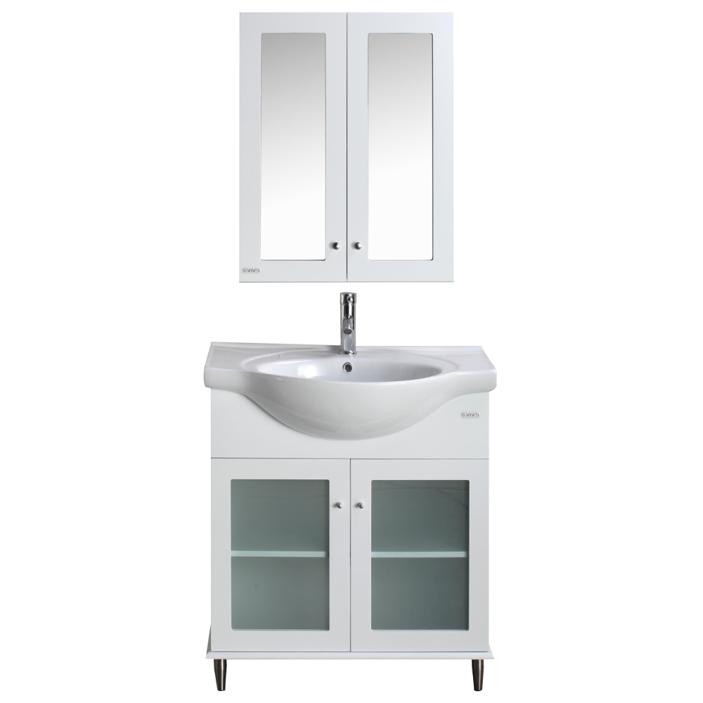 Eviva Tux 24 Inch White Bathroom Vanity With A Porcelain Sink