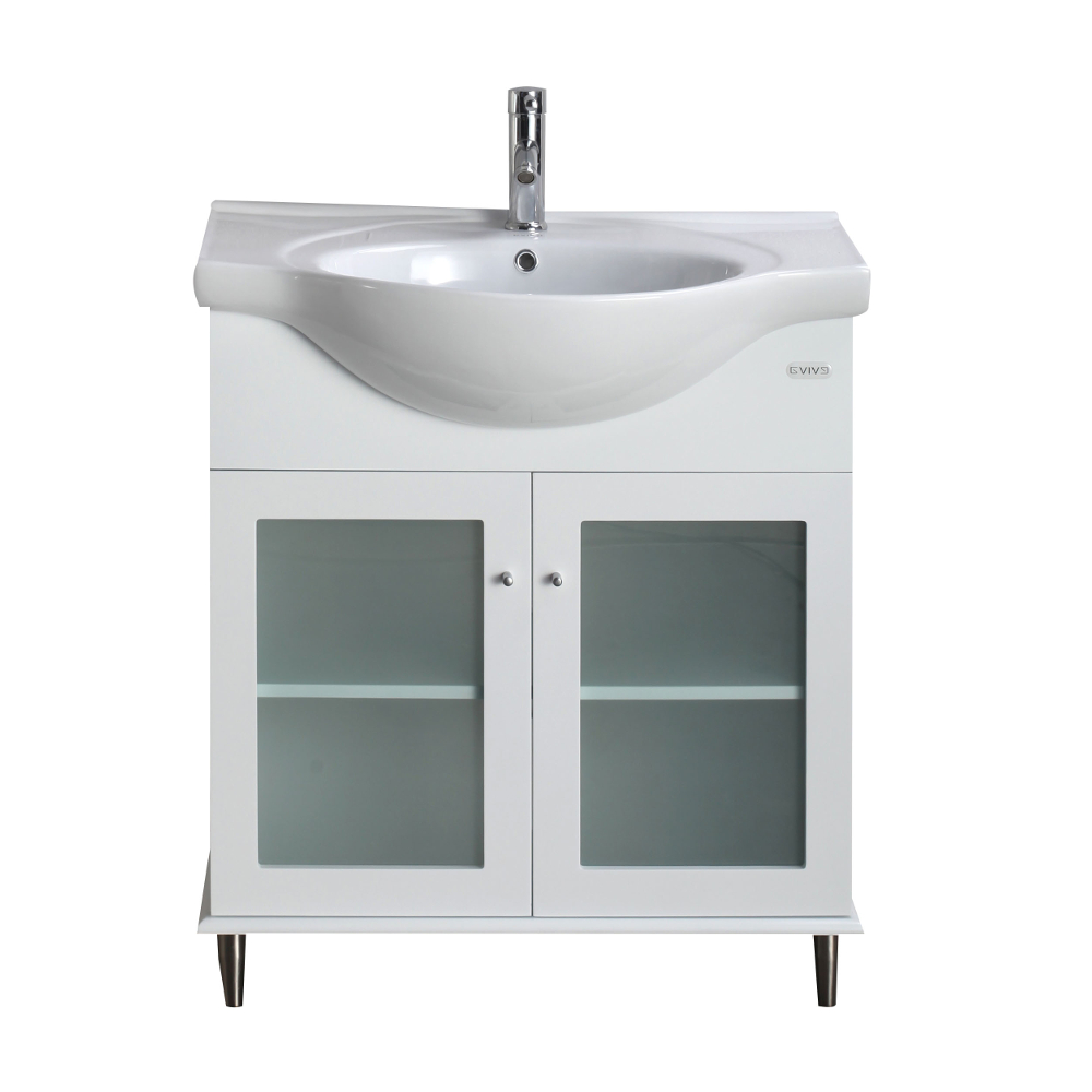 White Transitional Bathroom Vanity