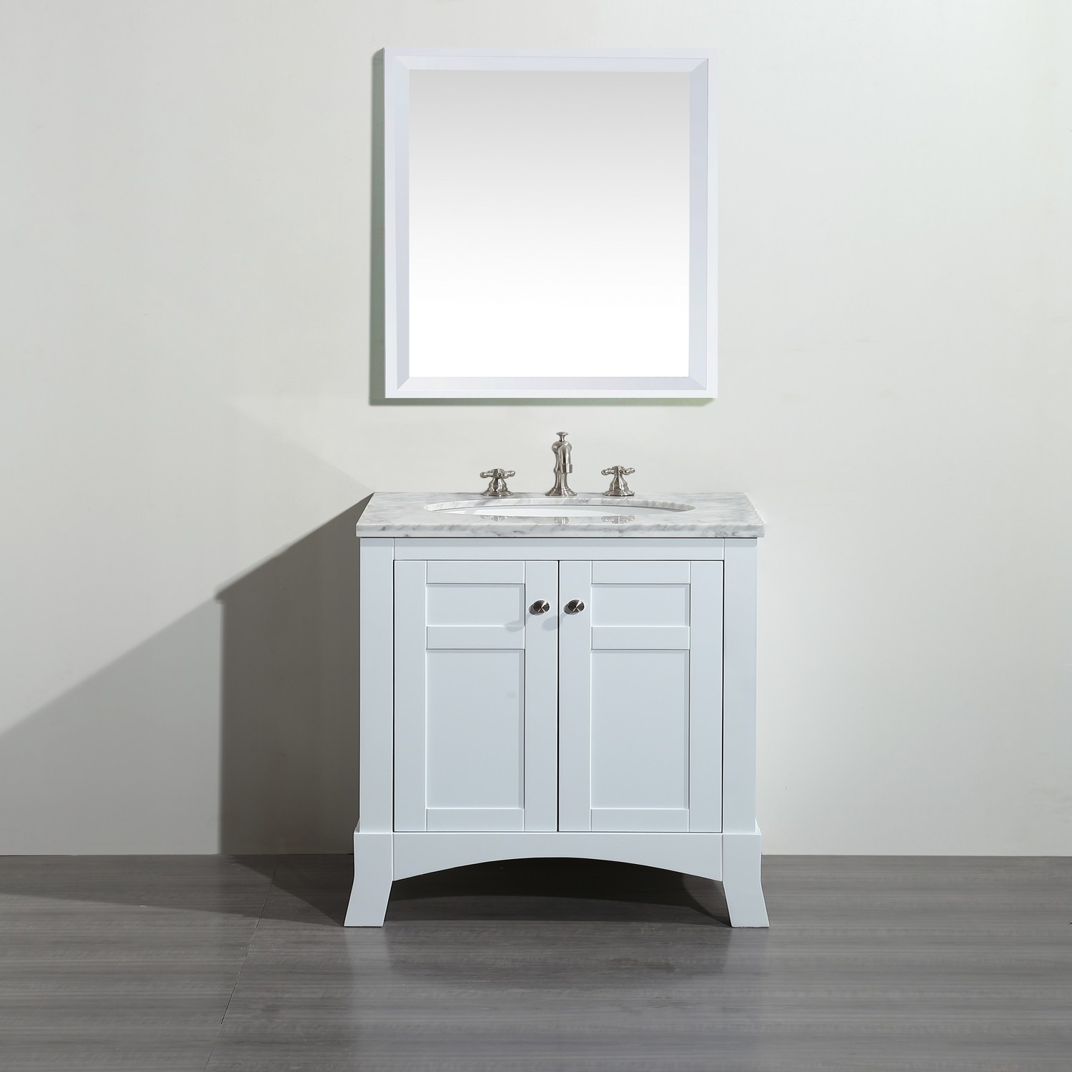 Aberdeen 24 In W X 20 D Bath Vanity White With Carrara Marble Top Sink
