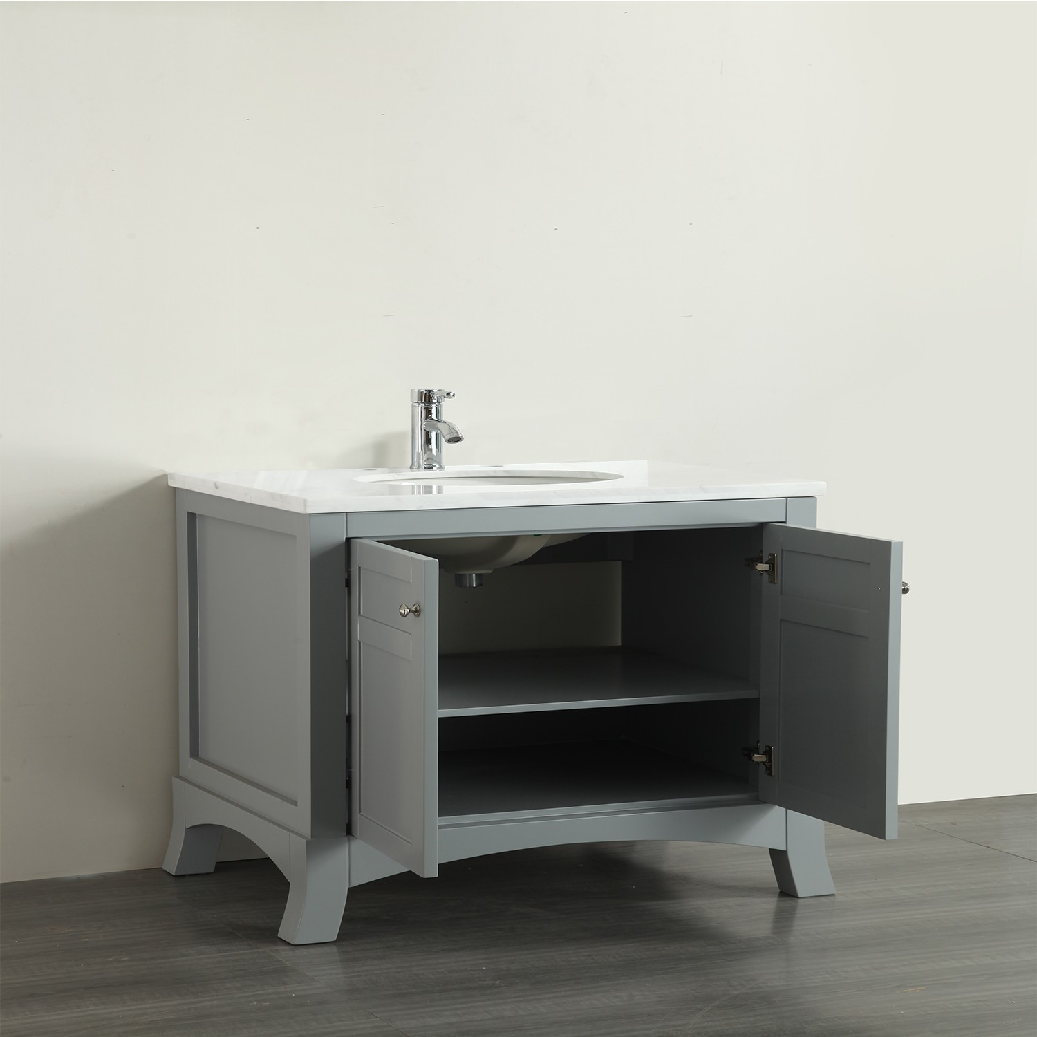 Eviva new york 30 grey bathroom vanity with white marble carrera counter top sink decors us for Gray bathroom vanity with top