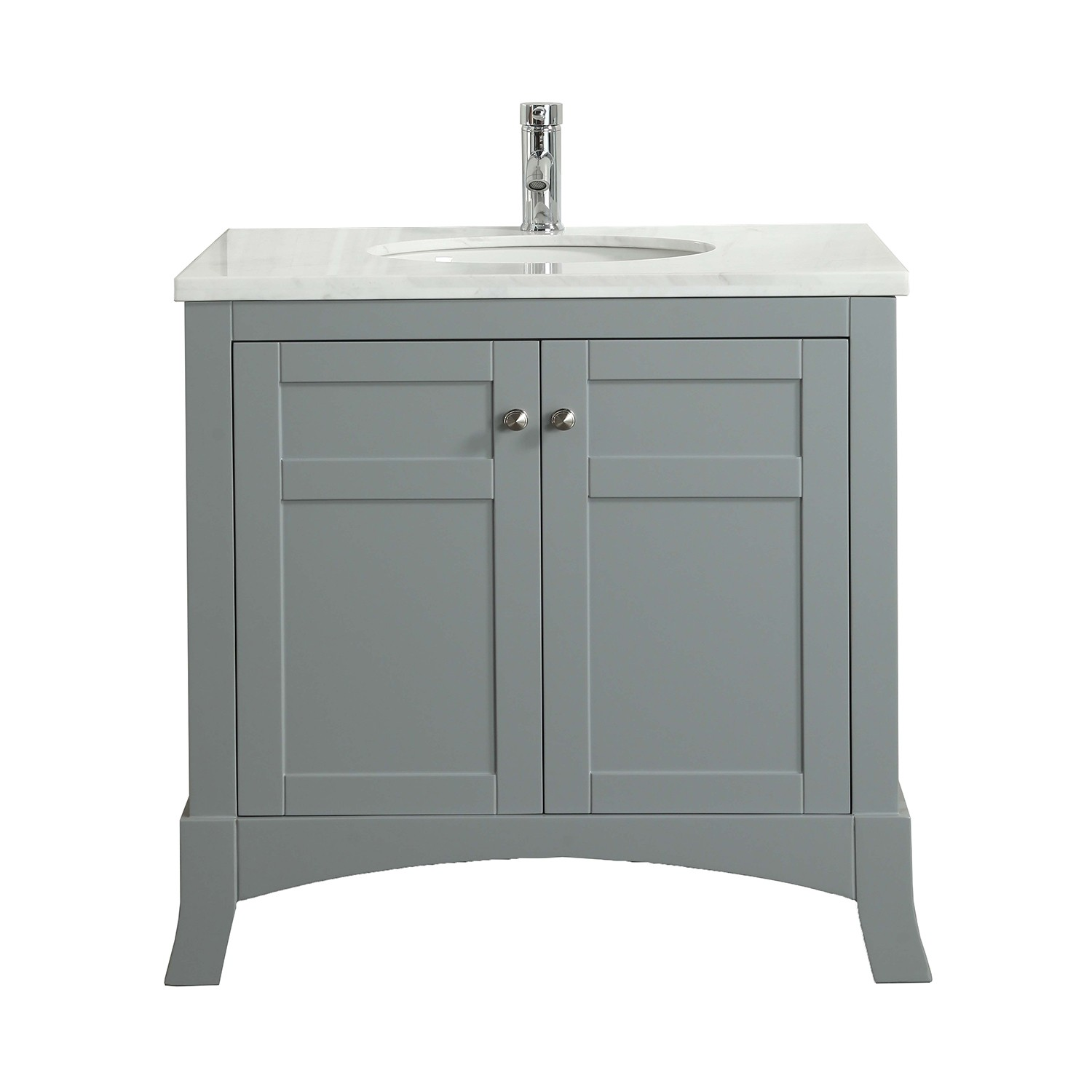 Eviva New York 30 Grey Bathroom Vanity With White Marble Carrera Counter Top Sink Decors Us
