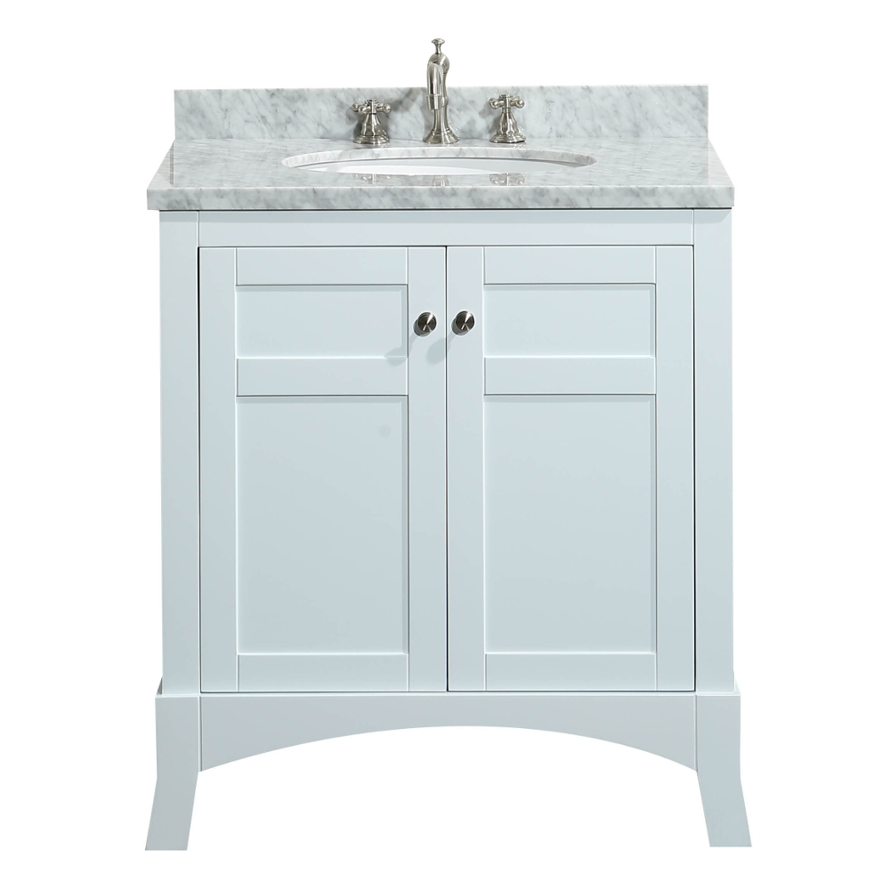 Eviva New York 30 White Bathroom Vanity With Marble Carrera Counter Top Sink