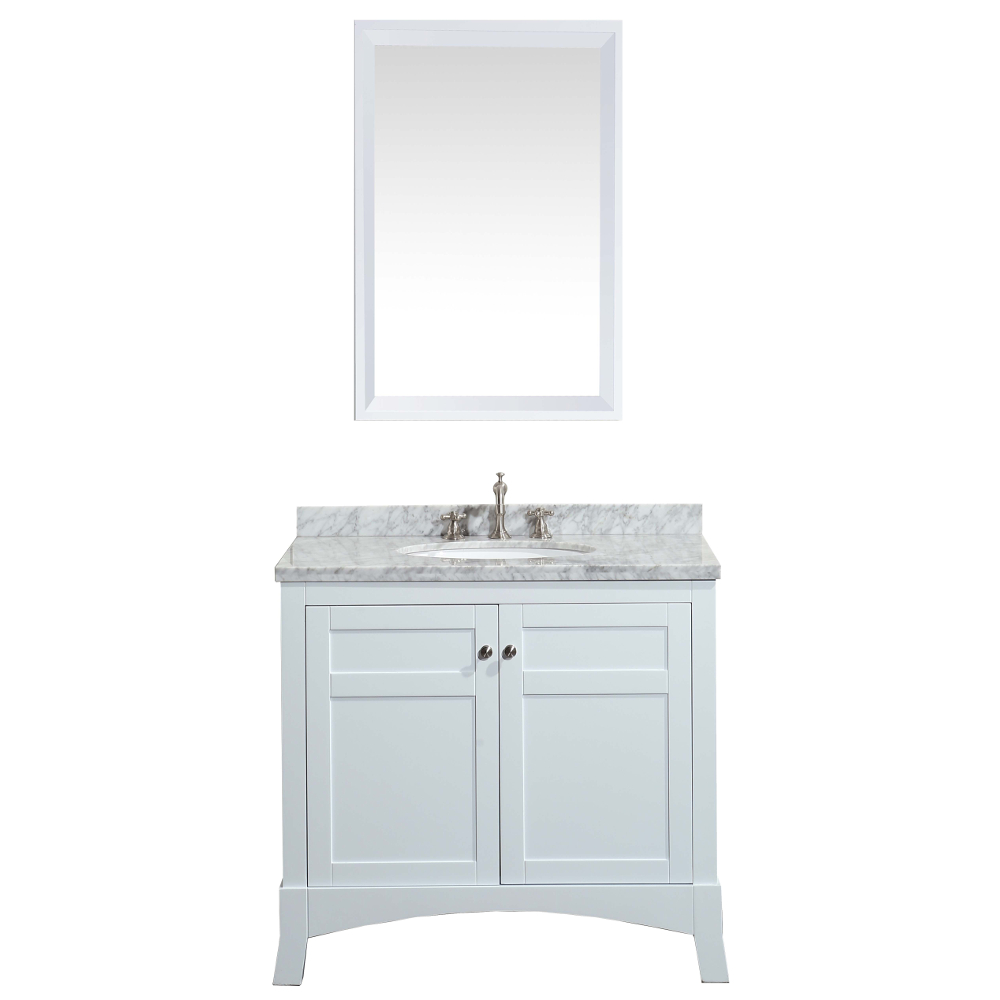 Eviva New York 36″ White Bathroom Vanity, With White Marble Carrera  Counter-top, & Sink
