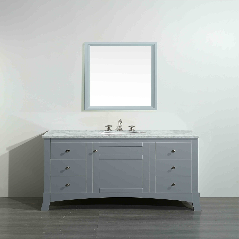"New Bathroom Vanity Lights: Eviva New York 42"" Grey Bathroom Vanity, With White Marble"