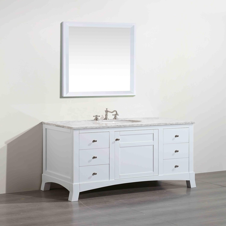 "New Bathroom Vanity Lights: Eviva New York 42"" White Bathroom Vanity, With White"