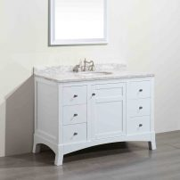 "EVVN514 48WH A 01 202x202 - Eviva New York 48"" White Bathroom Vanity, with White Marble Carrera Counter-top, & Sink"