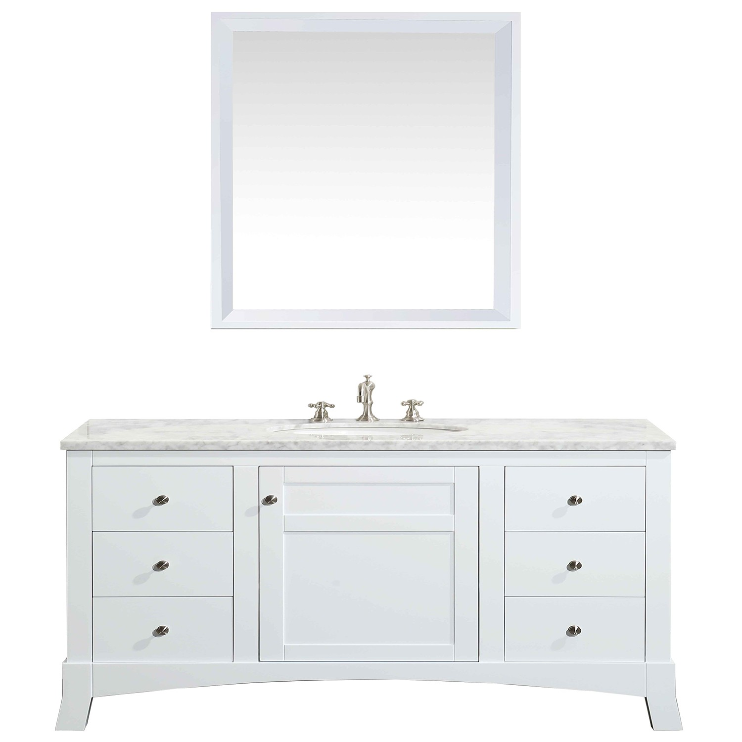 Eviva New York 48u2033 White Bathroom Vanity, With White Marble Carrera  Counter Top, U0026 Sink