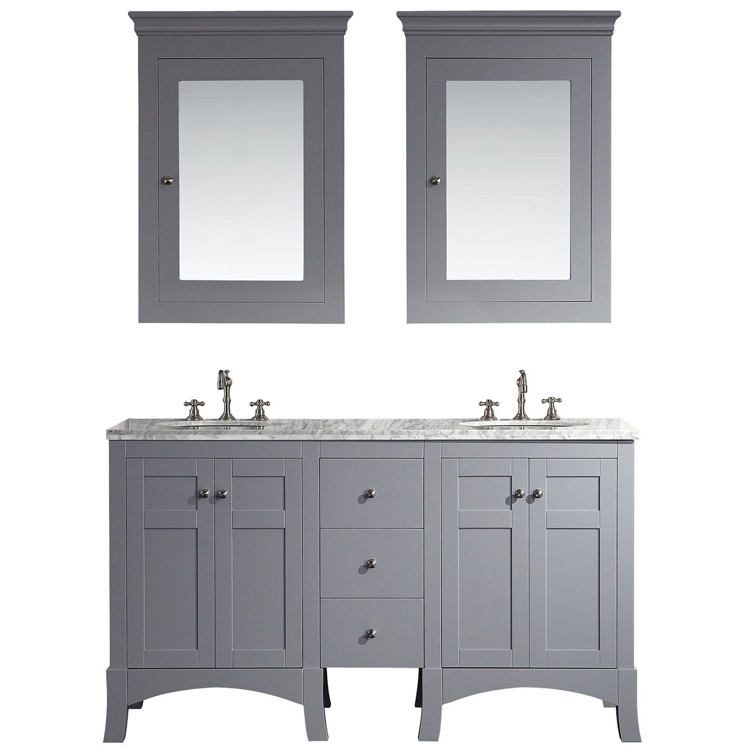Eviva New York 60 Grey Bathroom Vanity With White Marble Carrera Counter Top Sink Decors Us