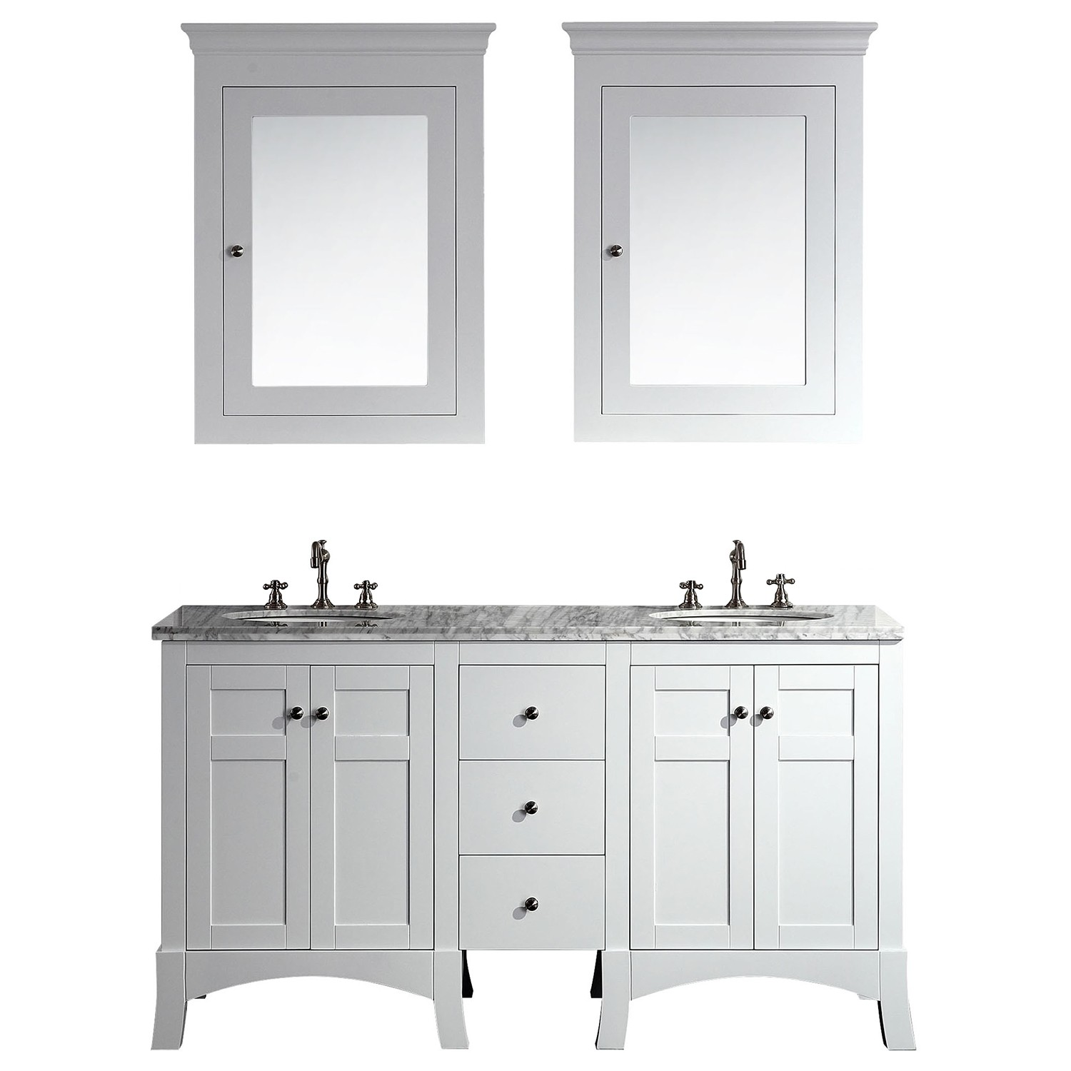 Eviva New York 60 White Bathroom Vanity With Marble Carrera Counter Top Sink