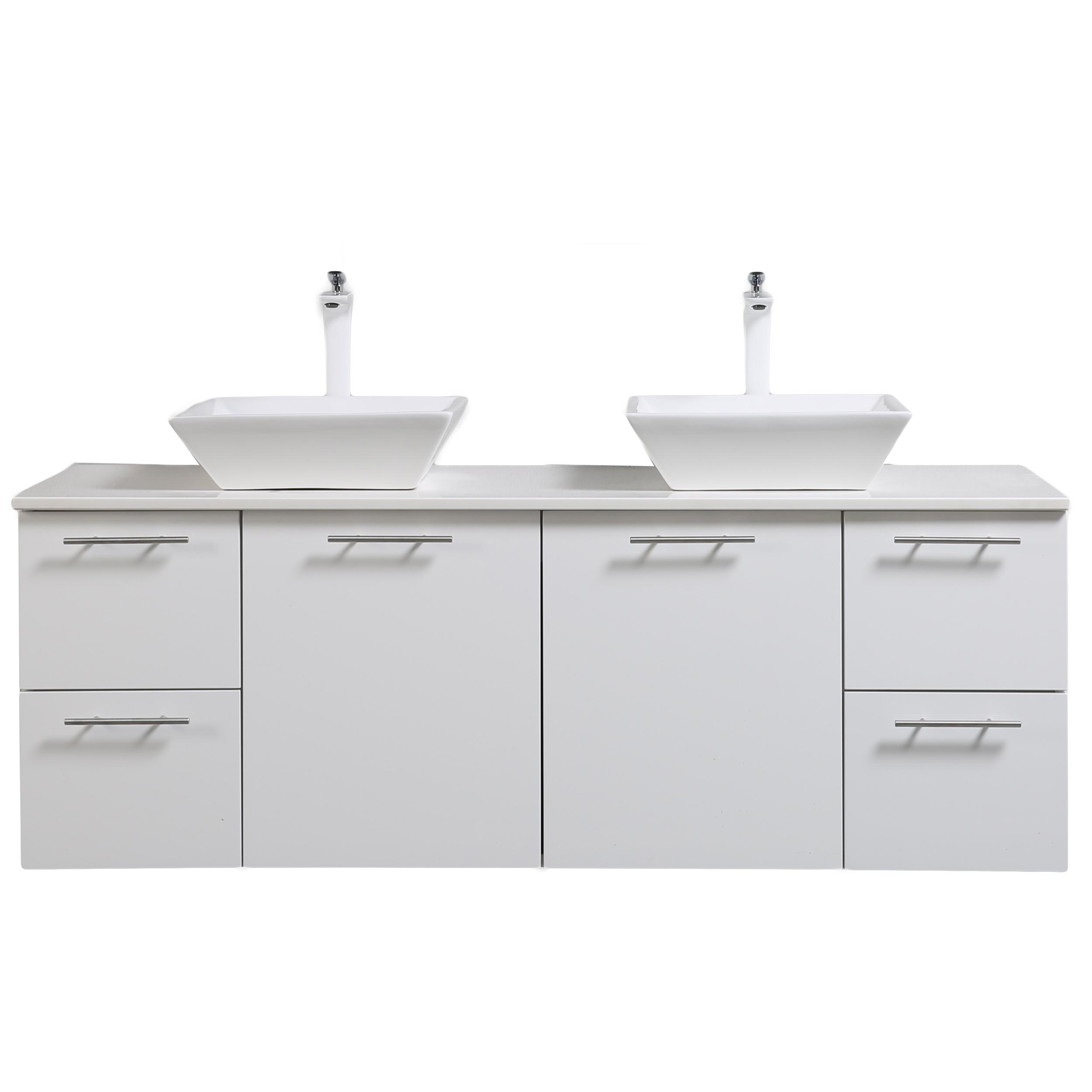 Eviva Luxury 60 Inch White Bathroom Vanity With Top