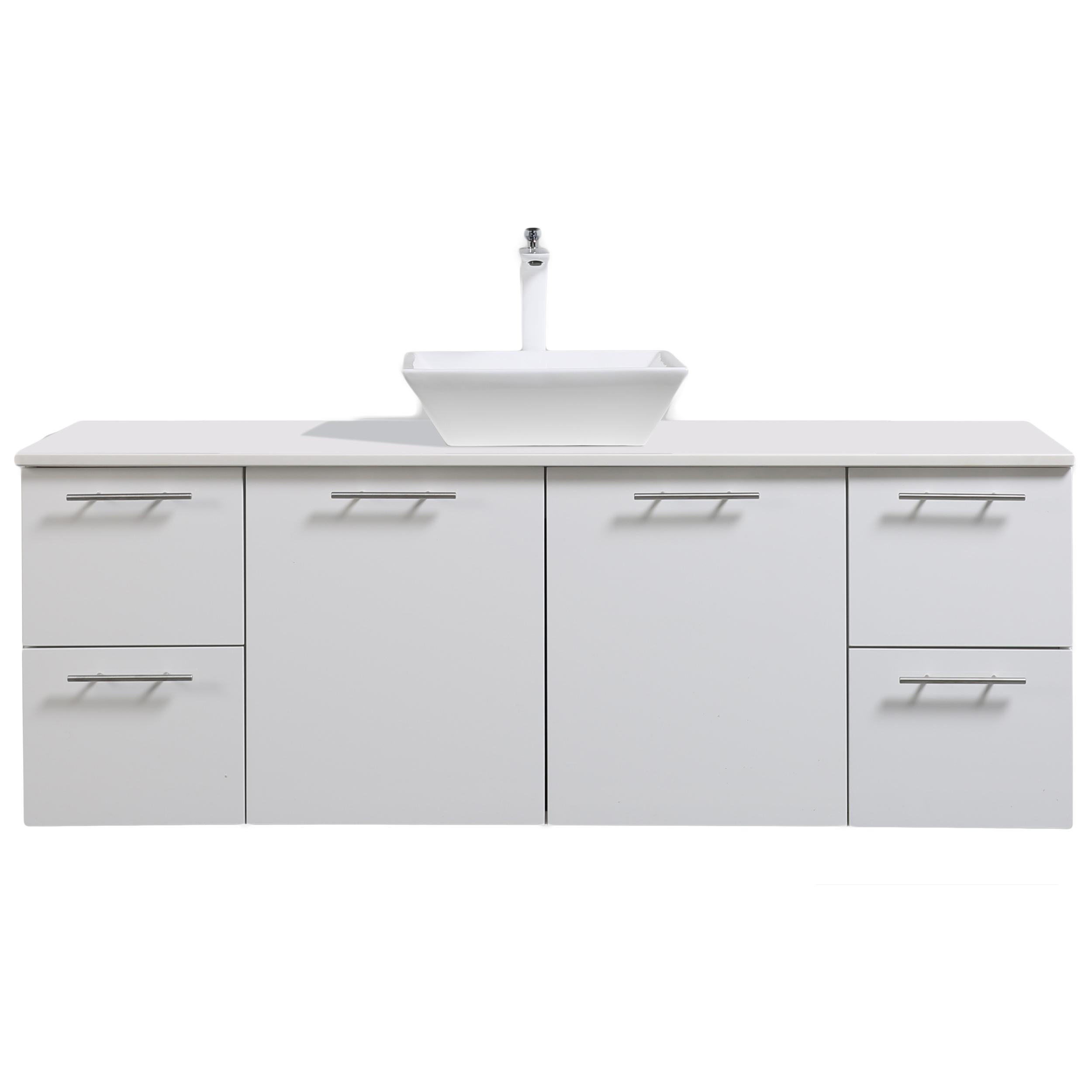 Eviva Luxury 60 inch White Single Sink bathroom vanity with top