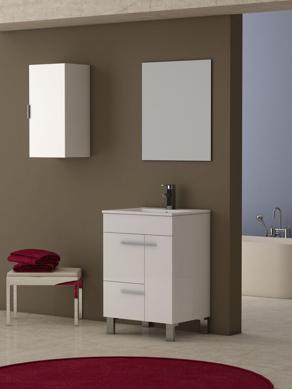 "EVVN521 24WH A Main - Eviva Cup 24"" White Modern Bathroom Vanity with White Integrated Porcelain Sink"
