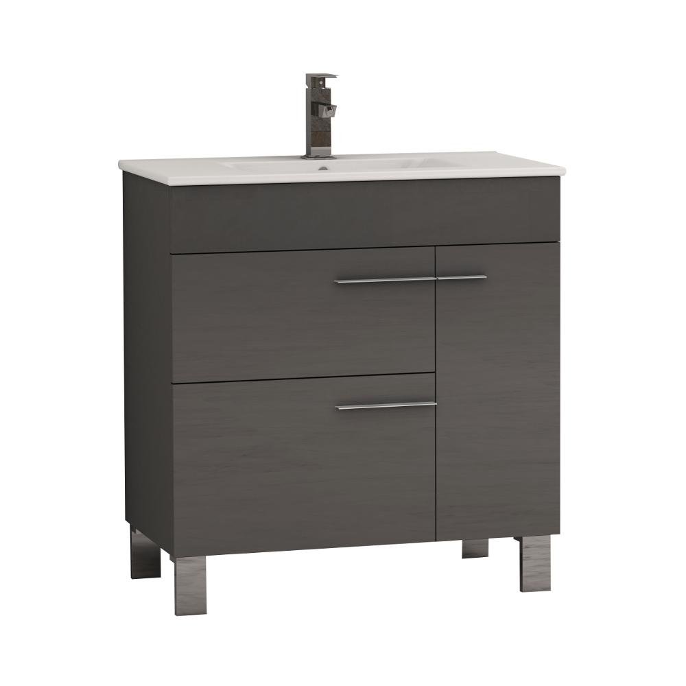"EVVN521 32GR A Main - Eviva Cup 31.5"" Grey Modern Bathroom Vanity with White Integrated Porcelain Sink"