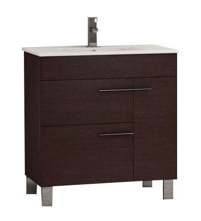 "EVVN521 32WG A Main - Eviva Cup 31.5"" Wenge (Dark Brown) Modern Bathroom Vanity with White Integrated Porcelain Sink"