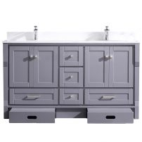 EVVN522 60GR A Main 202x202 - Eviva Booster 60 in. Double Sink Vanity in Gray with White Carrara Marble Countertop