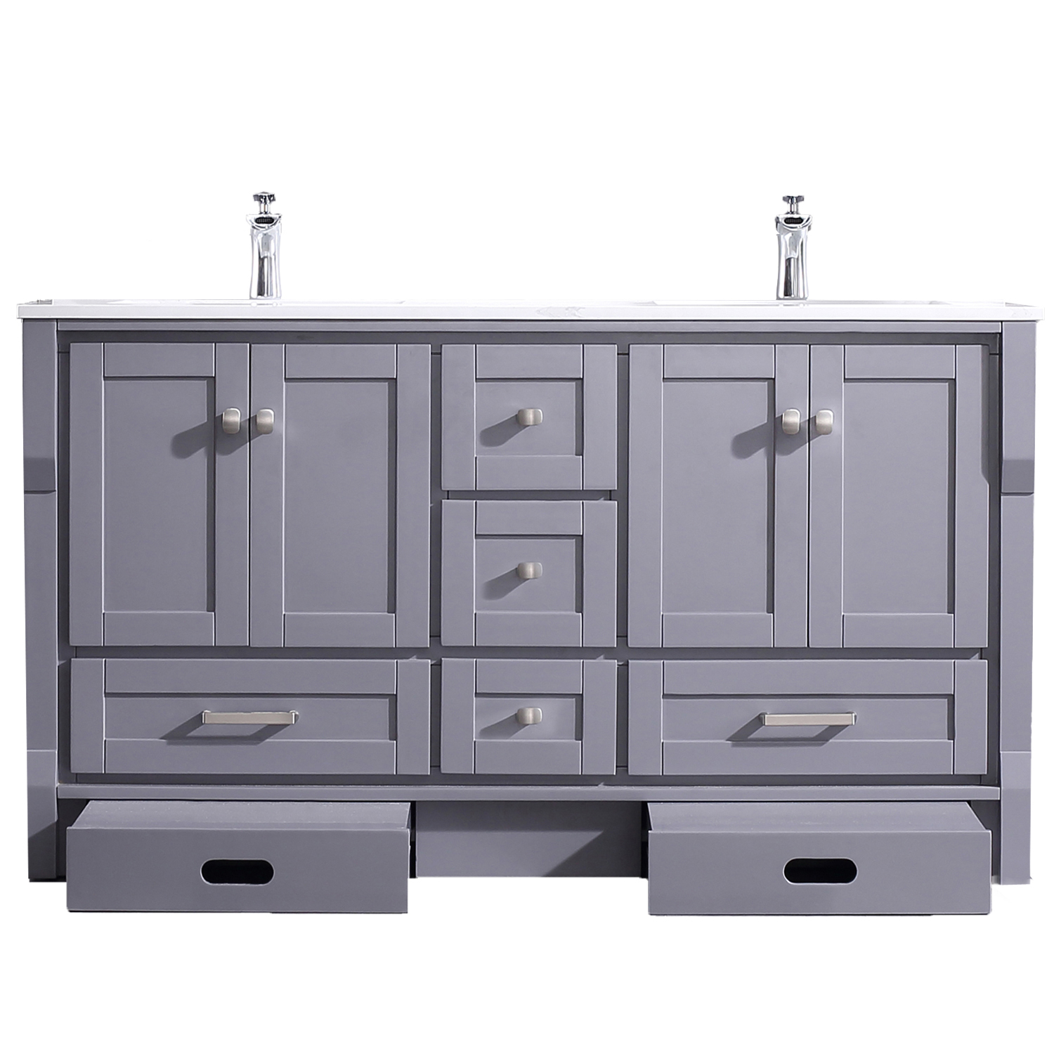 EVVN522 60GR A Main - Eviva Booster 60 in. Double Sink Vanity in Gray with White Carrara Marble Countertop