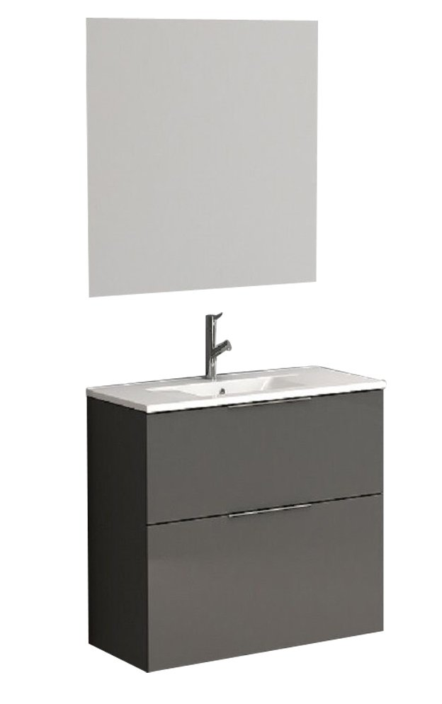 "EVVN523 24GR A Main - Eviva Galsaky 24"" Grey Modern Bathroom Vanity Wall Mount with White Integrated Porcelain Sink"