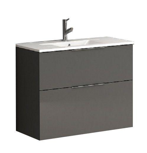 "EVVN523 28GR A Main - Eviva Galsaky 28"" Grey Modern Bathroom Vanity Wall Mount with White Integrated Porcelain Sink"