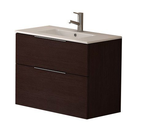 "EVVN523 28WG A Main - Eviva Galsaky 28"" Wenge Modern Bathroom Vanity Wall Mount with White Integrated Porcelain Sink"