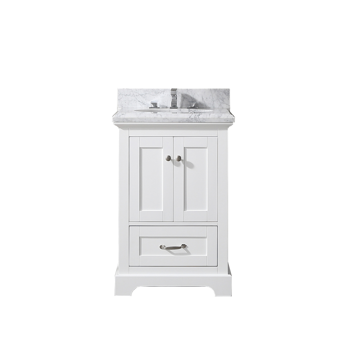 EVVN525 24WH A Main - Eviva Houston 24 in. White Bathroom Vanity with White  Carrara Marble Countertop