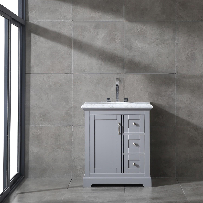 Grey Bathroom Vanity With White Carrara