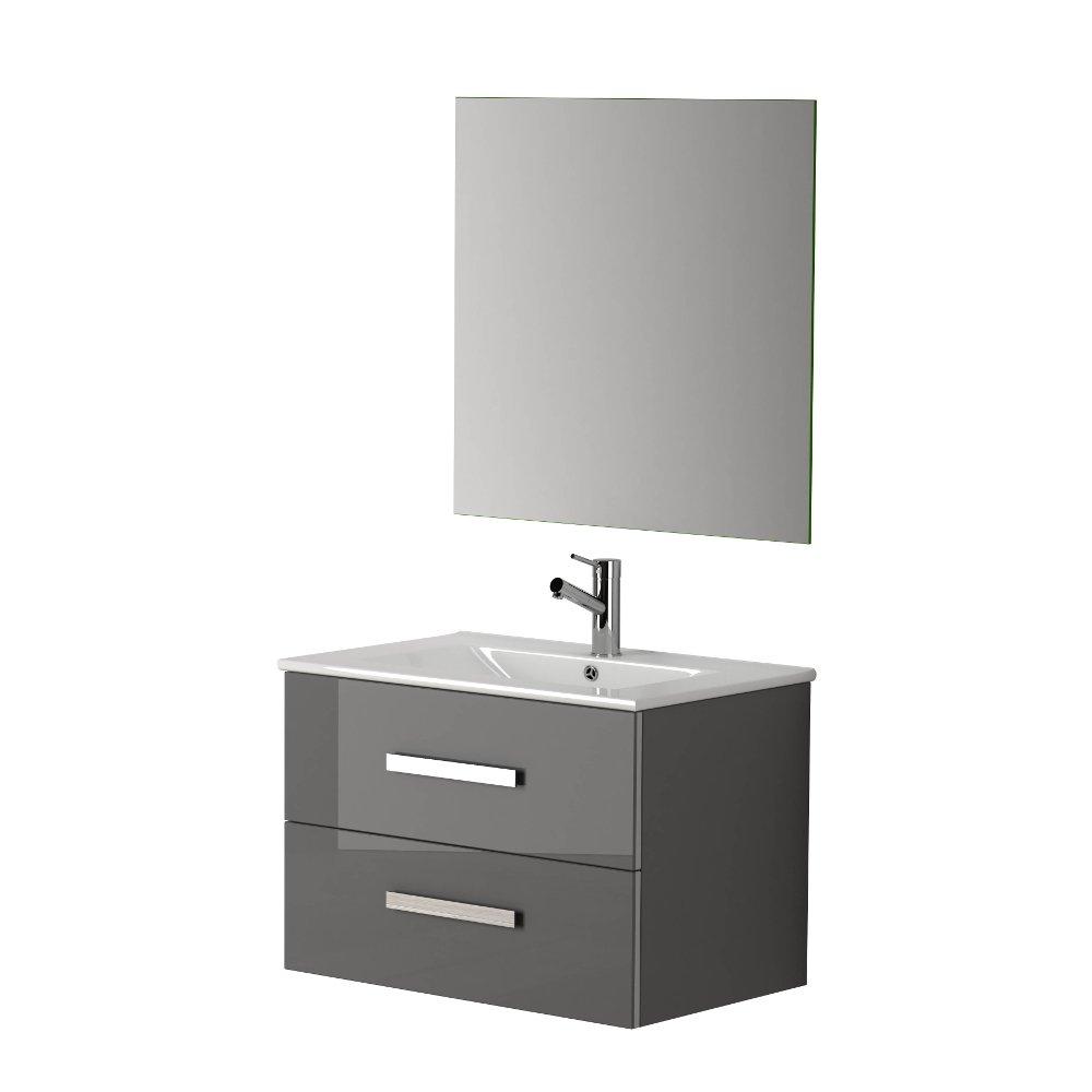 Modern bathroom cabinet - Eviva Astoria 28 Grey Modern Bathroom Vanity With White Integrated Porcelain Sink