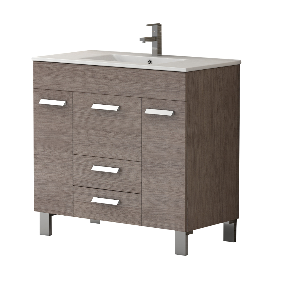 "EVVN528 36MOK A Main - Eviva Venus 36"" Medium Oak Modern Bathroom Vanity with White Integrated Porcelain Sink"