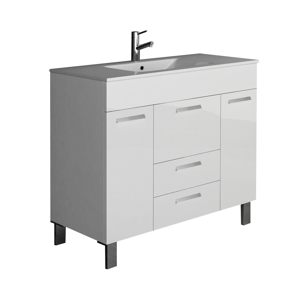 "EVVN528 36WH A Main - Eviva Venus 36"" White Modern Bathroom Vanity  Wall Mount with White Integrated Porcelain Sink"