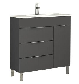 "EVVN530 28GR A Main - Eviva Geminis 28"" Grey Modern Bathroom Vanity with White Integrated Porcelain Sink"