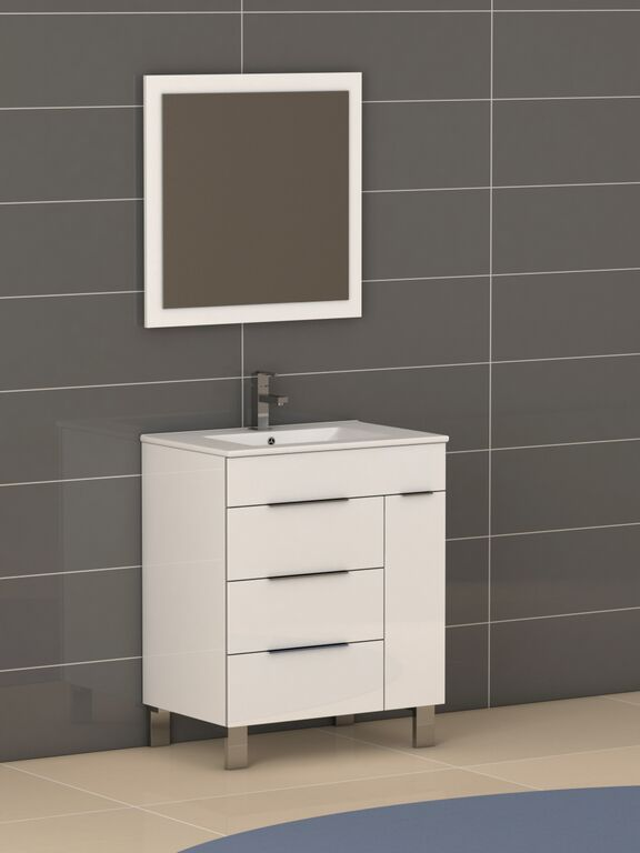 """EVVN530 28WH A Main - Eviva Geminis 28"""" White Modern Bathroom Vanity with White Integrated Porcelain Sink"""