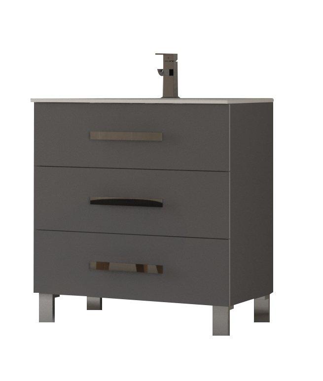"EVVN531 30GR A Main - Eviva Libra 31.5"" Gray Modern Bathroom Vanity  Wall Mount with White Integrated Porcelain Sink"