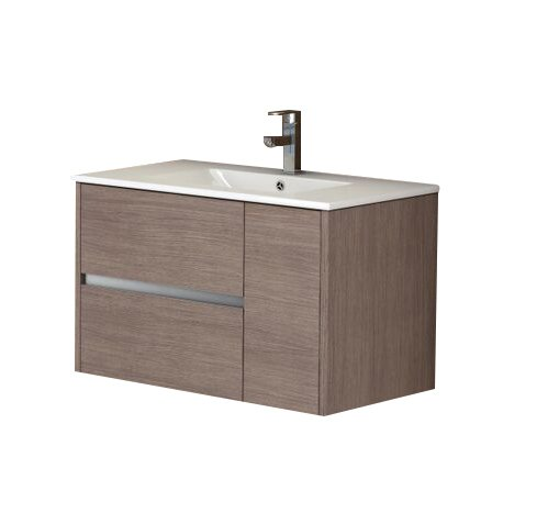 "EVVN533 32MOK A Main - Eviva Aries 32"" Medium Oak Modern Bathroom Vanity  Wall Mount with White Integrated Porcelain sink"