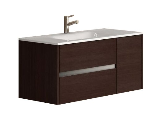 "EVVN533 39WG A Main - Eviva Aries 39"" Wenge Modern Bathroom Vanity  Wall Mount with White Integrated Porcelain sink"