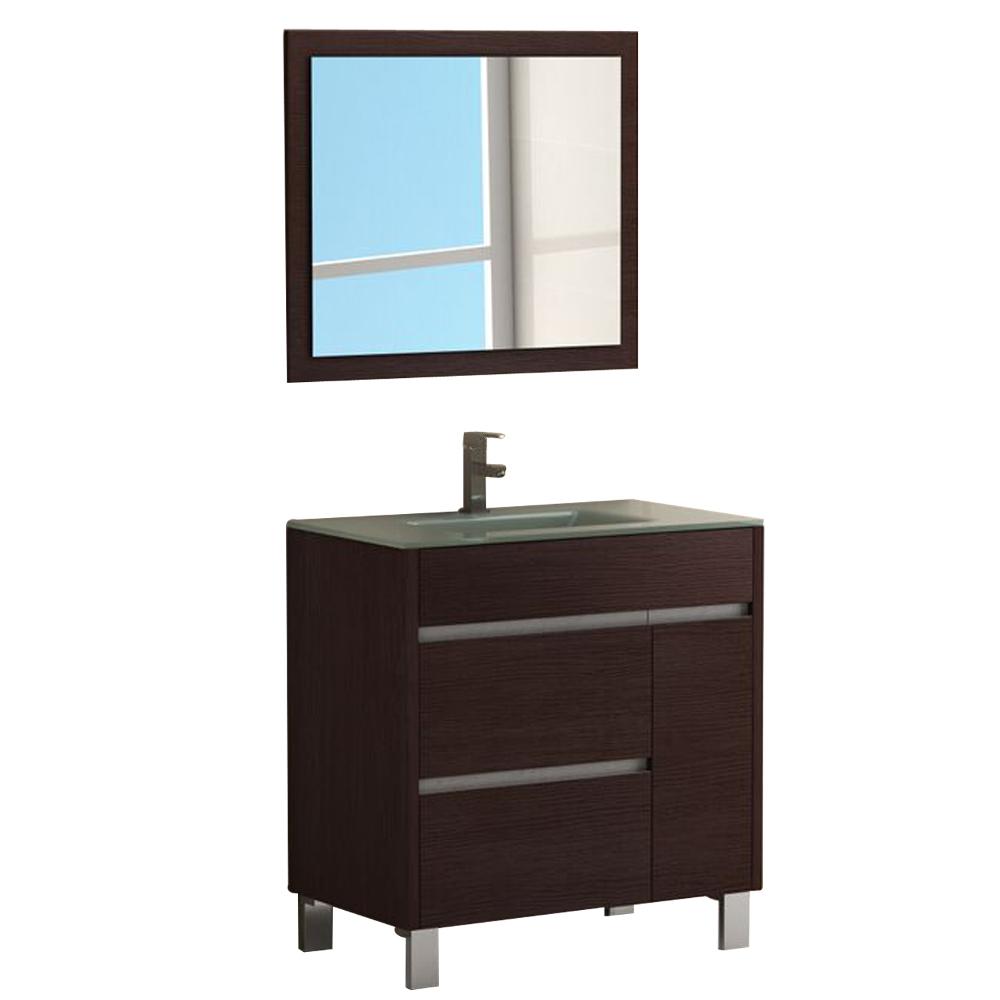 "EVVN535 32WG A Main - Eviva Tauro 32"" Wenge(Dark Brown) Modern Bathroom Vanity Set with Integrated White Porcelain Sink"