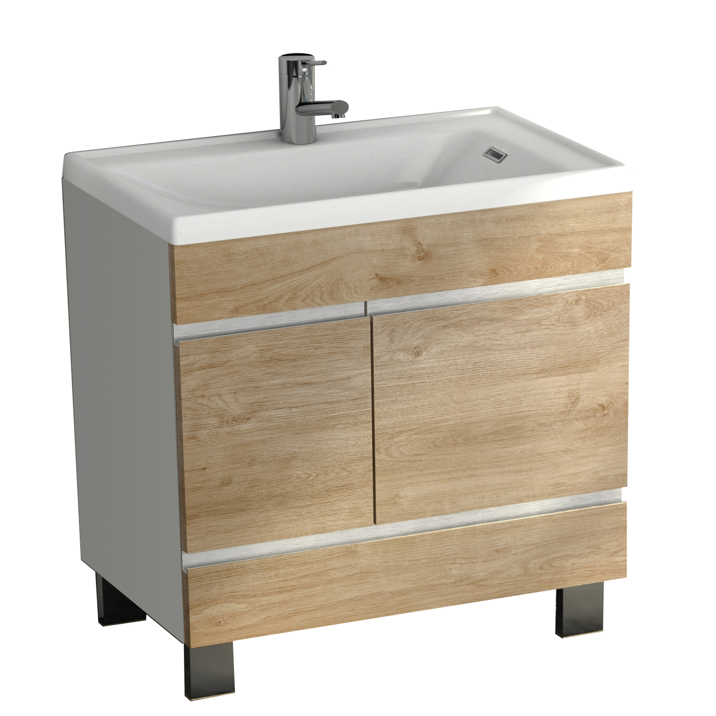 "EVVN540 24WHOAK A Main - Eviva Petite Plus 24"" White/Oak Vanity with Porcelain sink"